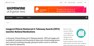 Inaugural Chinese Restaurant and Takeaway Awards launches Newspaper
